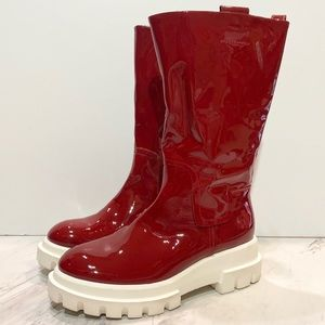 AGL Red Patent Leather Midi Boots 38
